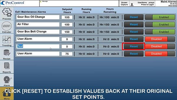 Maintenance Alarms - ProSystem's ProControl Deluxe