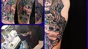 Skull and Flower tattoo  tattoo by Amanda