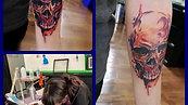 watercolour skull  tattoo by Amanda