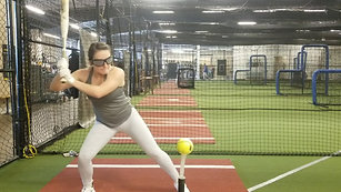 Softball Tee Drill with Strobe Training Glasses