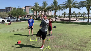 Football - Hurdle Lateral Hop & Ball Catch with Strobe Training Glasses
