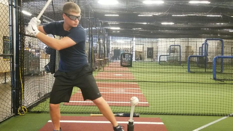 Baseball Tee Hitting Drill with Strobe Glasses