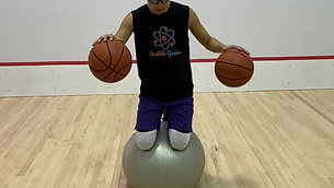 Basketball - Exercise Ball Balance Two Ball Dribble Drill with Strobe Training Glasses