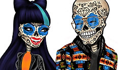 Day of the Dead Pop Art Couple