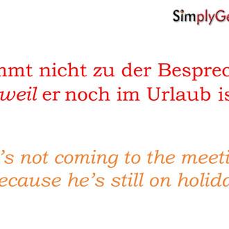 German grammar: verb kicker animation