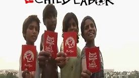 Show red card to child labor