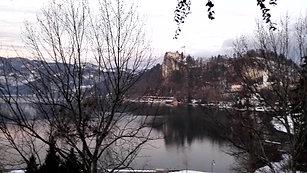 SLOVENIA-Lake Bled Church bells 6.30 am  from hotel Feb 2018