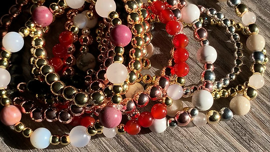 Stack em up! New natural stone beaded stretch bracelets