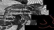 Nautical Sea Creatures Ocean Tortoise Tapestry