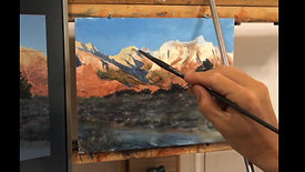 Casein painting of Mount Whitney Sample