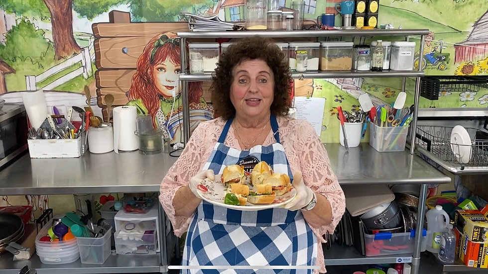 Chef Dianne Linderman Making Tomato Basil Baguette Sandwiches