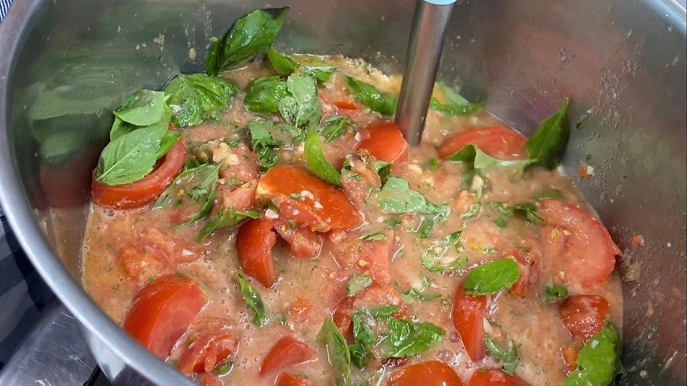 Chef Dianne Linderman Making Tomato Basil Soup