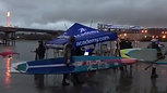 Rainy morning as racers enter the water