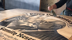 Timelapse of: My PappyVanWickle wood panel being varnished