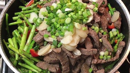 Mom Makes Stir Fry Beef and Asparagus