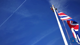 Raising the Union Jack over London, Portland House, Victoria