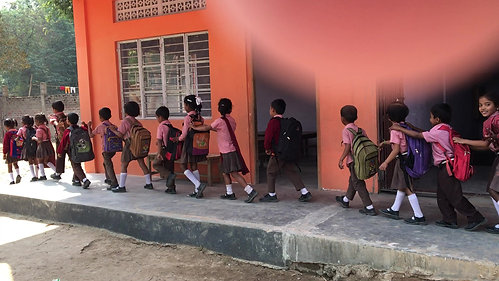 The young class heading home after school