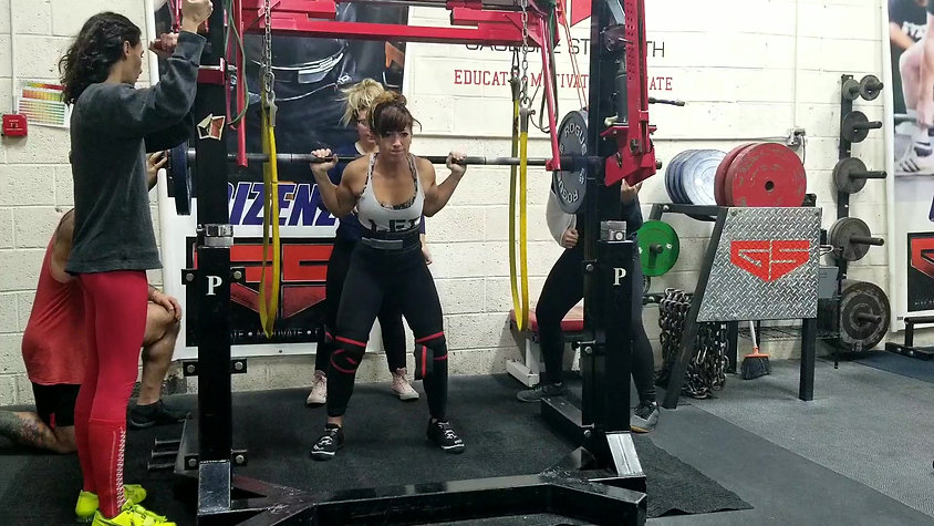 255lb squat with knee wraps and reverse bands at Gaglione Strength