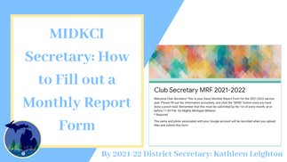 MIDKCI Secretary: Monthly Report Forms