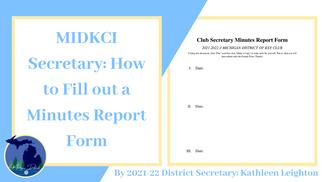 MIDKCI Secretary: Minutes Report Form