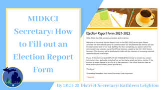 MIDKCI Secretary: Election Report Forms
