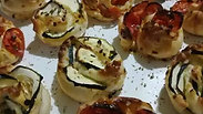 Vegetable puff pastry roses