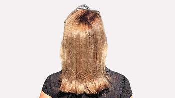 Затемнение корня и растяжка блонда на среднюю длину волос чубунова