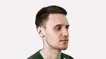 Мужская стрижка на короткие волосы со сложным ростом волос лаврентьев