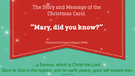Wed - Mary did you know