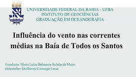 Influência do vento nas correntes médias na Baía de Todos os Santos