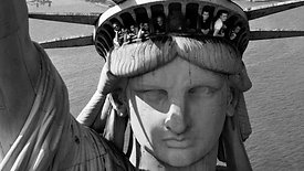 Tourists in the Statue of Liberty