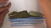 Draw mountain with oil pastel