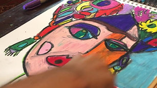 Portrait in the works - Pen and Oil Pastel on Paper 2021 #2
