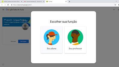Tutoria de acesso e uso - Google Classroom