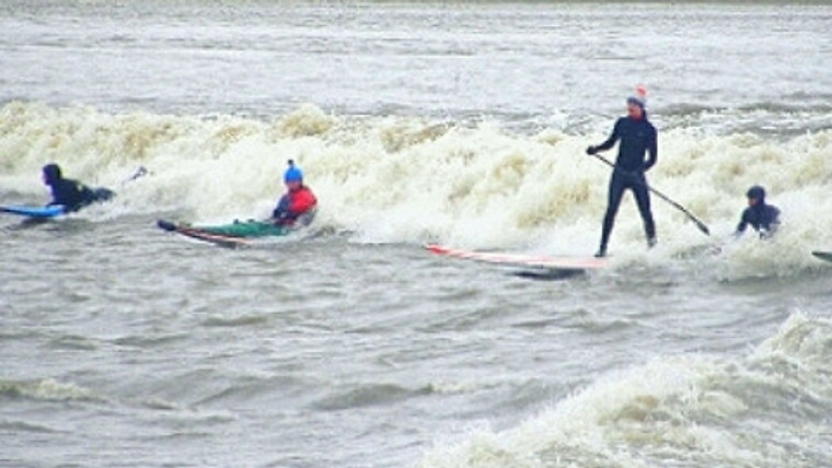 Surfing the Severn Bore at Awre