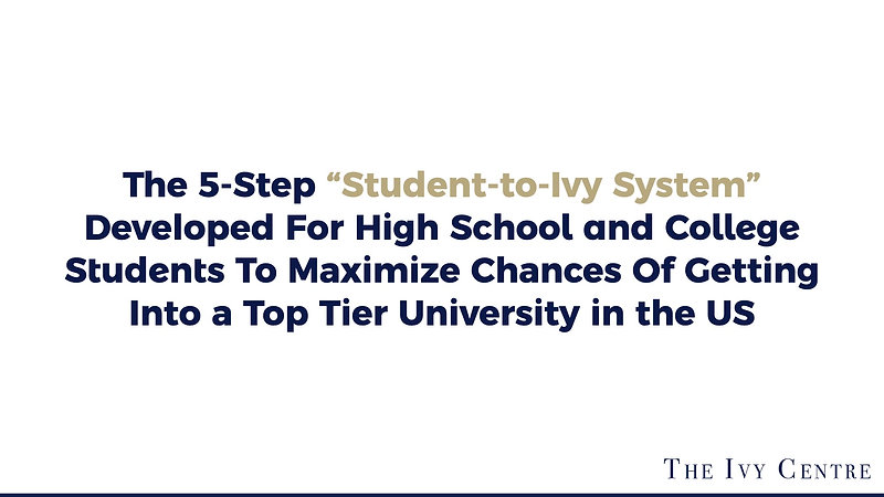 5-Step Ivy League Application Approach