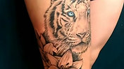 White Tiger portrait and Lilies Tattoo