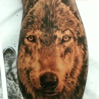cf4fddd21 Read more Black and white custom wolf portrait by Kelsey Bareham of the  Whistler Tattoo Company.