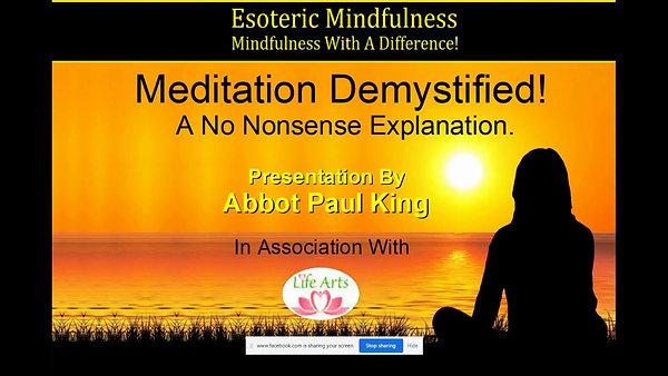 Meditation Demystified - Life Arts 28 March 2021