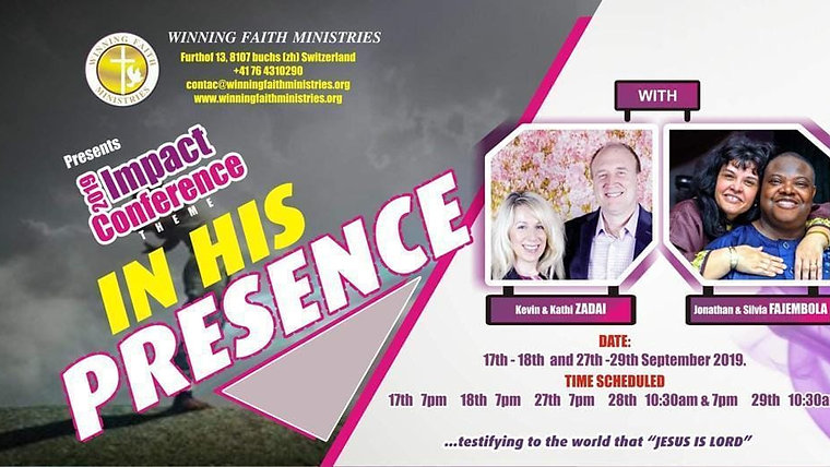 2019 IN HIS PRESENCE CONF. with Dr. KEVIN ZADAI