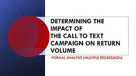 IMPACT OF THE CALL TO TEXT CAMPAIGN ON RETURN VOLUME