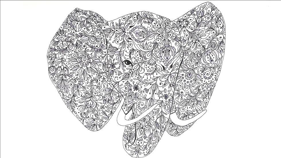 mehndi inspired elephant