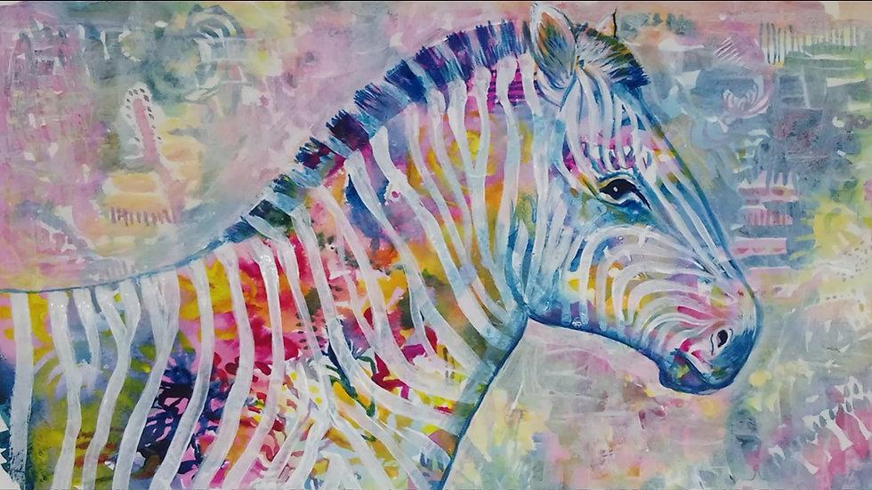 zesty zebra in acrylics