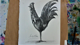 DETAILED PENCIL DRAWING: rooster