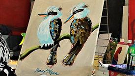 ACRYLIC PAINTING: 2 kookaburras