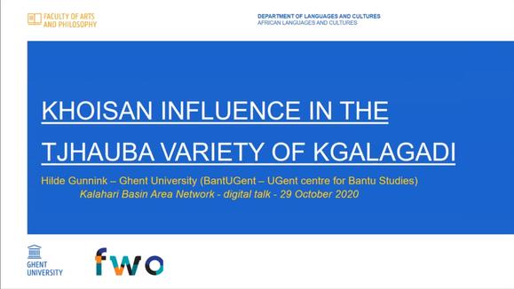 Hilde Gunnink // Khoisan influence in the Tjhauba variety of Kgalagadi