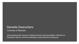 Characterizing the impacts of diluted bitumen spill remediation methods on freshwater benthic macroinvertebrates using shoreline enclosures.