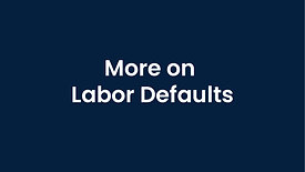 More on Configuring Labor Defaults