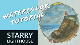 Watercolor: Starry Lighthouse
