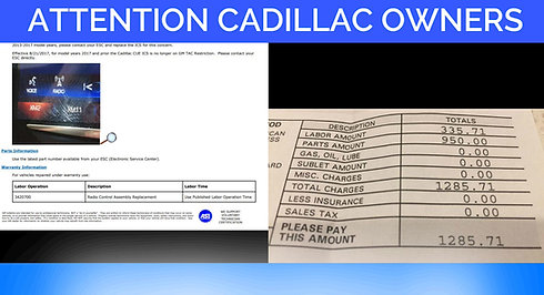 Cadillac CUE Technical Service Bulletin TSB Video Delamination for XTS SRX ATS CTS Escalade